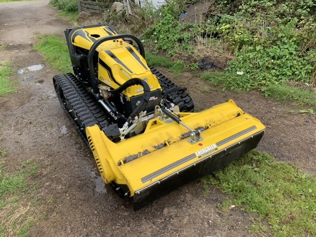 Remote control tracked tractor and mower
