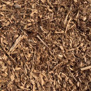 Garden wood chip mulch